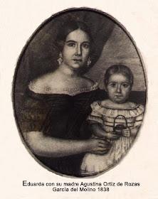 Agustina Ortiz de Rozas de Mansilla con su hija Eduarda Mansilla.
