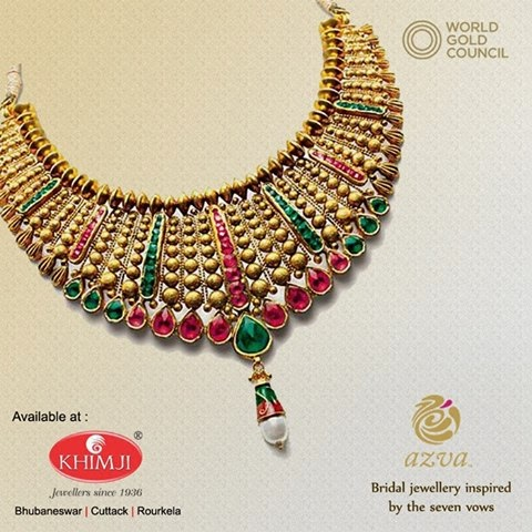 Azva Gold Jewellery Necklace on display at Khimji