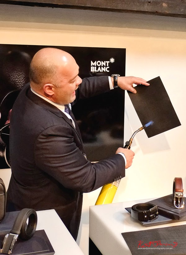 Demonstrating the durability of Montblanc's specially developed high durability leather by applying the flame of a blowtorch.