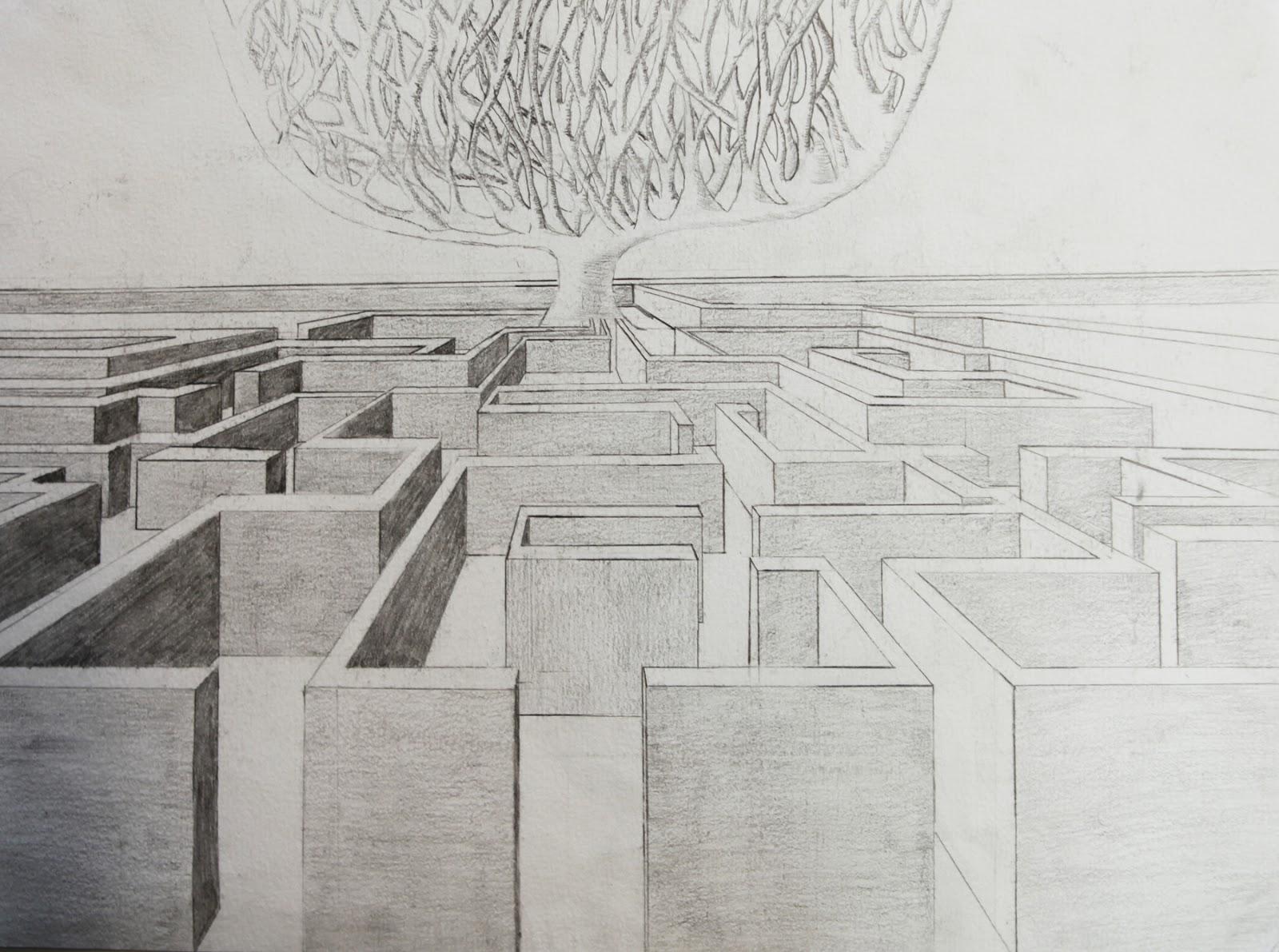 Artpla33 le labyrinthe et le dessin en perspective - Labyrinthe dessin ...