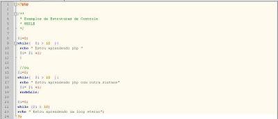 Exemplo de sintaxe while e loop eterno