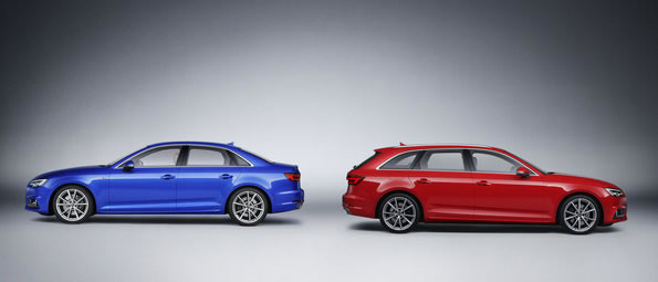 アウディ新型A4 2.0 TFSI quattroセダンと3.0 TDI quattroアバントのツーショットサイド
