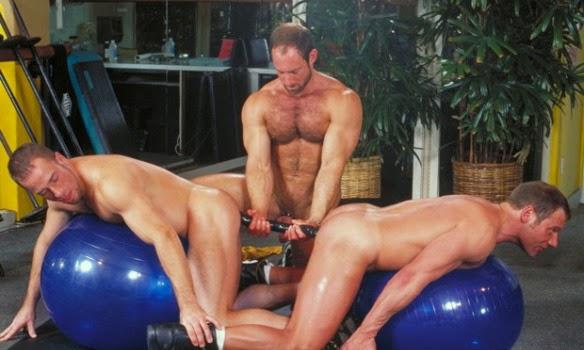 Threesome balls grabbed
