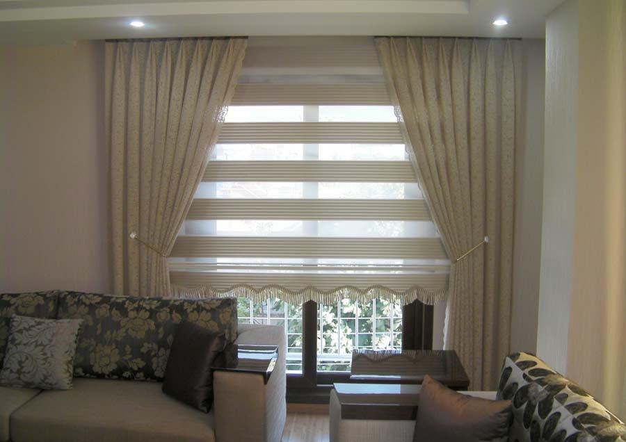 Oturma odaları için tasarlanmış pliseli zebra perde modeli ...