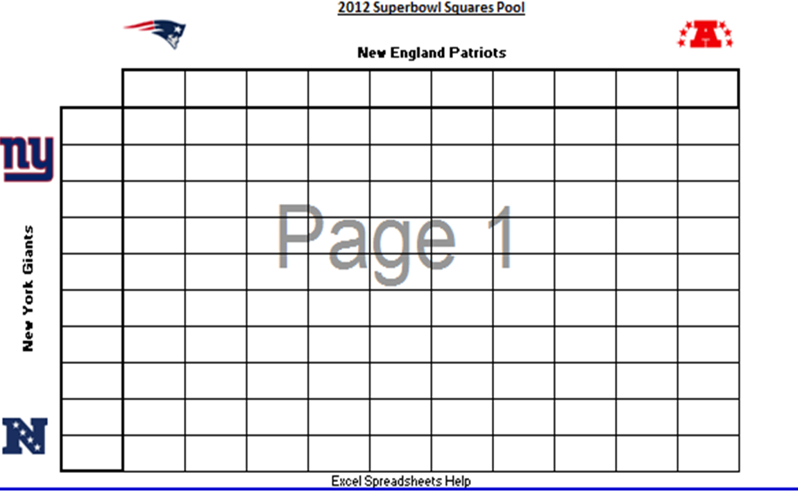 Blank Super Bowl Squares Template