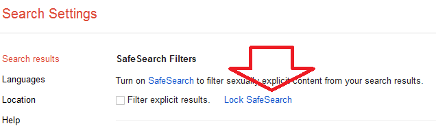 Permanent Google Safe Search lock