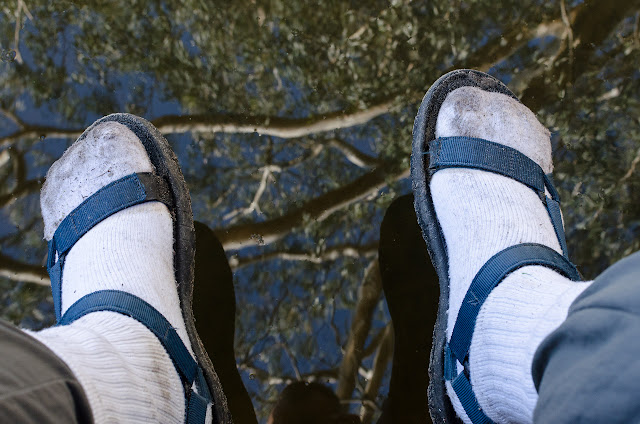 teva sandals and reflection in water