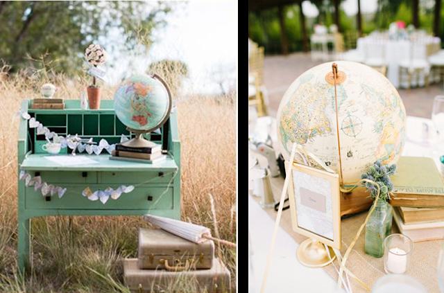 Guestbook en forma de mapas para bodas inspiradas en viajes