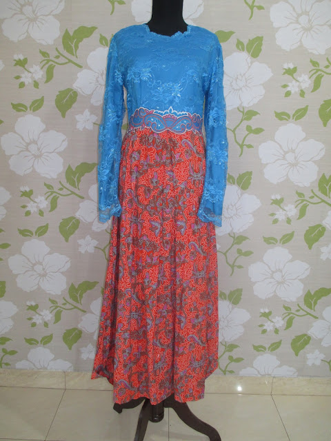 Model Baju gamis Brokat Kombinasi Batik
