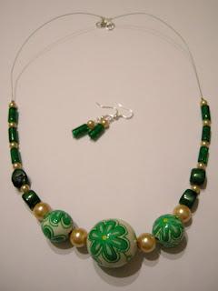 biżuteria z półfabrykatów i decoupage - wiosna tuż tuż (komplet)