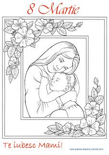 Imagini De Colorat De Ziua Mamei   Felicitare De Colorat Cu O Mama
