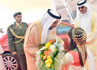 President, His Highness Shaikh Khalifa after inaugurating the UAE's first solar plant.