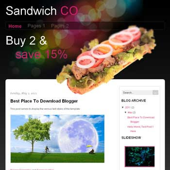 Sandwich CO Blogger Template. template blog simple and minimalist design blog