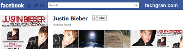 Justin Bieber on Facebook, Musician/Band