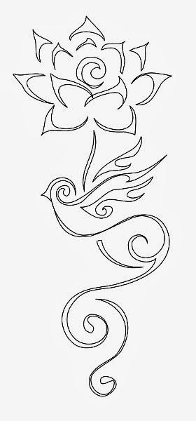 Lotus with bird tattoo stencil