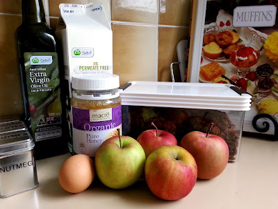 Ingredients to make apple, honey and sultana muffins.