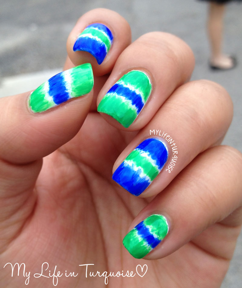 My Life In Turquoise: Blue And Green Brushed Gradient Nail Art
