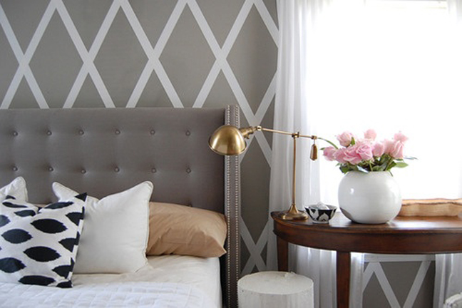 My current obsession grey tufted headboards cozy for Painted headboard on wall