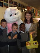 Here is a picture of the Easter Bunny, Mrs Dullea and three very excited . easter bunny