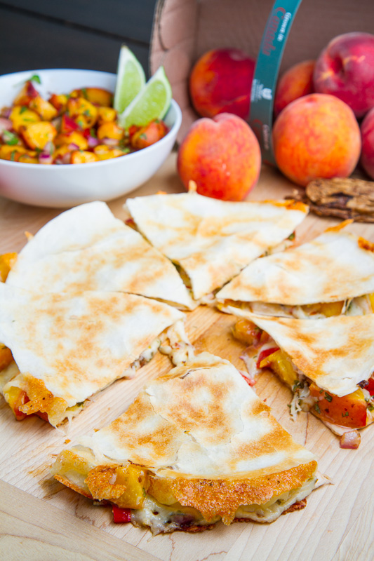 served the chipotle peach quesadillas along with a simple guacamole ...