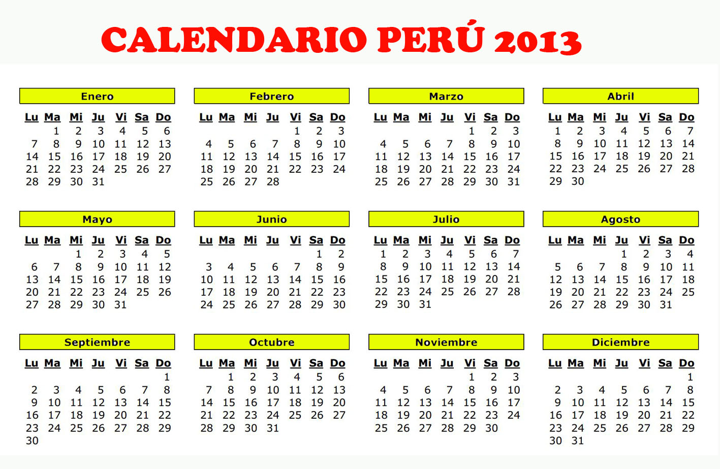 Calendario excel 2016 con dias feriados argentina for Horario peru wellness