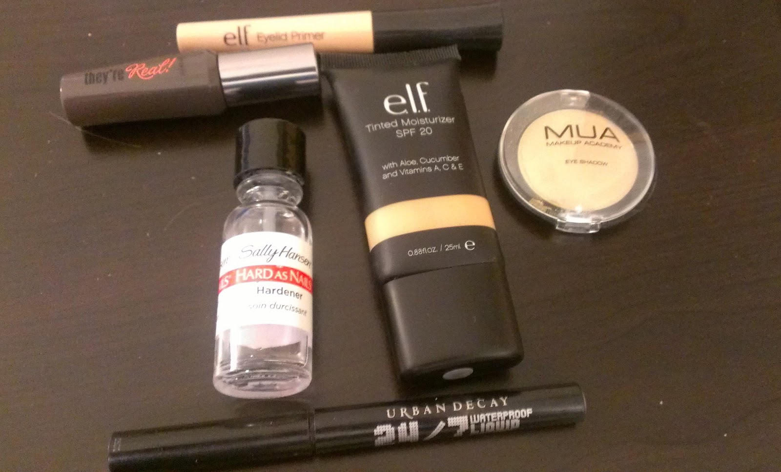 ELF eyelid primer, Benefit's They're Real, ELF Tinted Moisturizer, Urban Decay's 24/7 Liquid liner Perversion, Sally Hansen's Hard as Nails nail hardener,MUA Eyeshadow in shade 17,