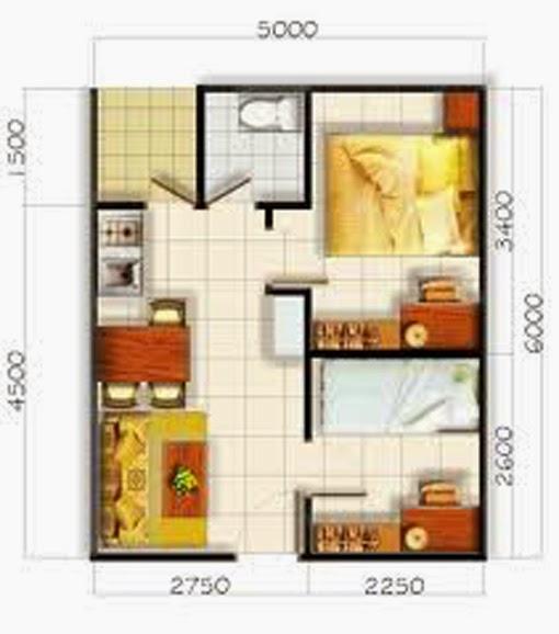 Desain Rumah Minimalis 1 Lantai 2 Kamar Tidur