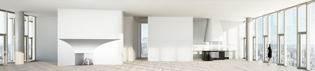 Illustration of one of the apartment in 56 Leonard Street by Herzog & De Meuron