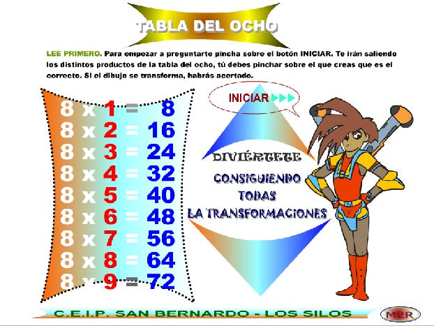 Tabla Multiplicar Del 8 Tabla Del 8