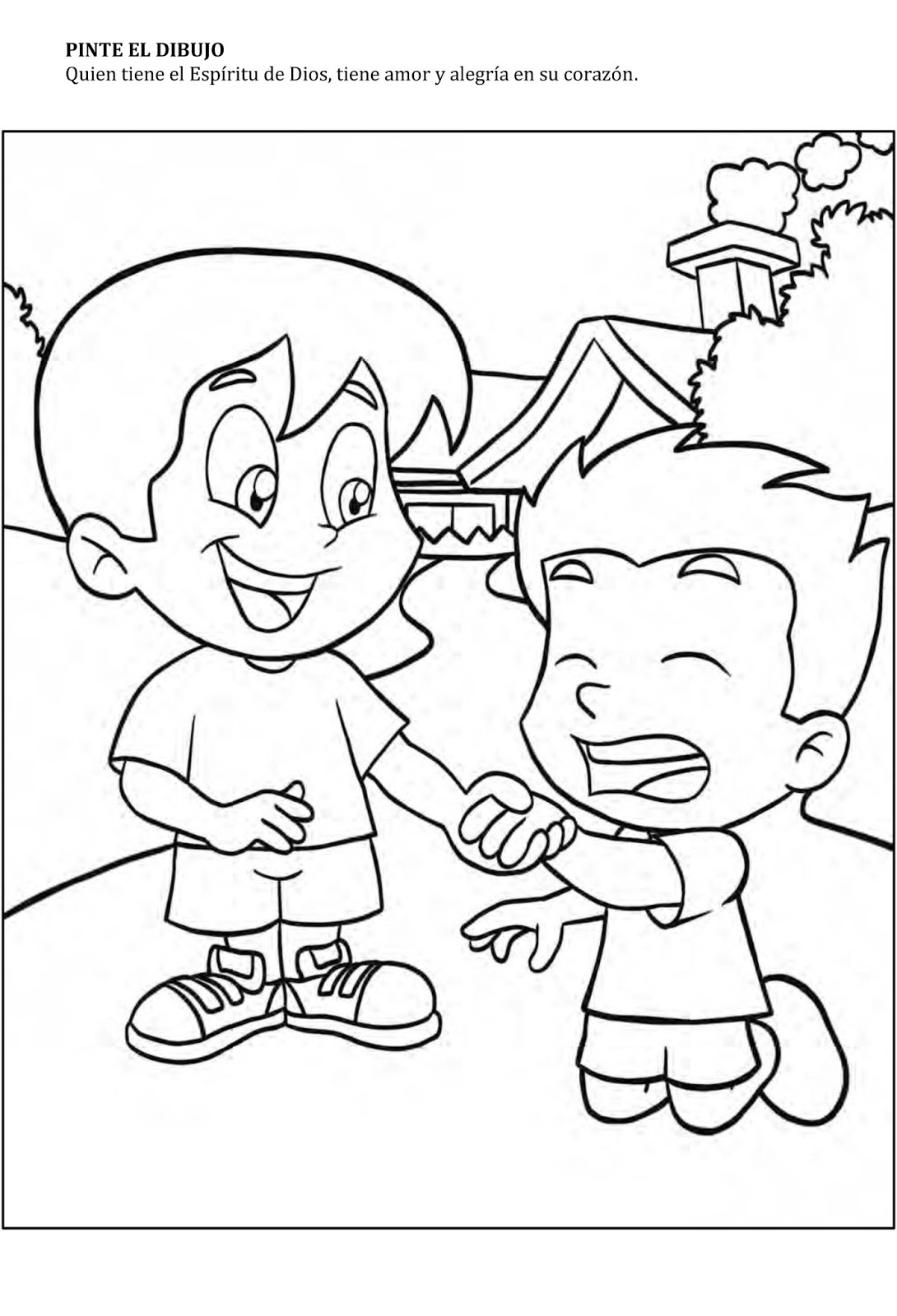 Niños ayudando para colorear - Imagui