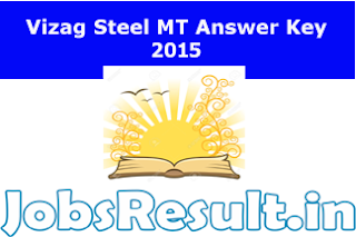 Vizag Steel MT Answer Key 2015