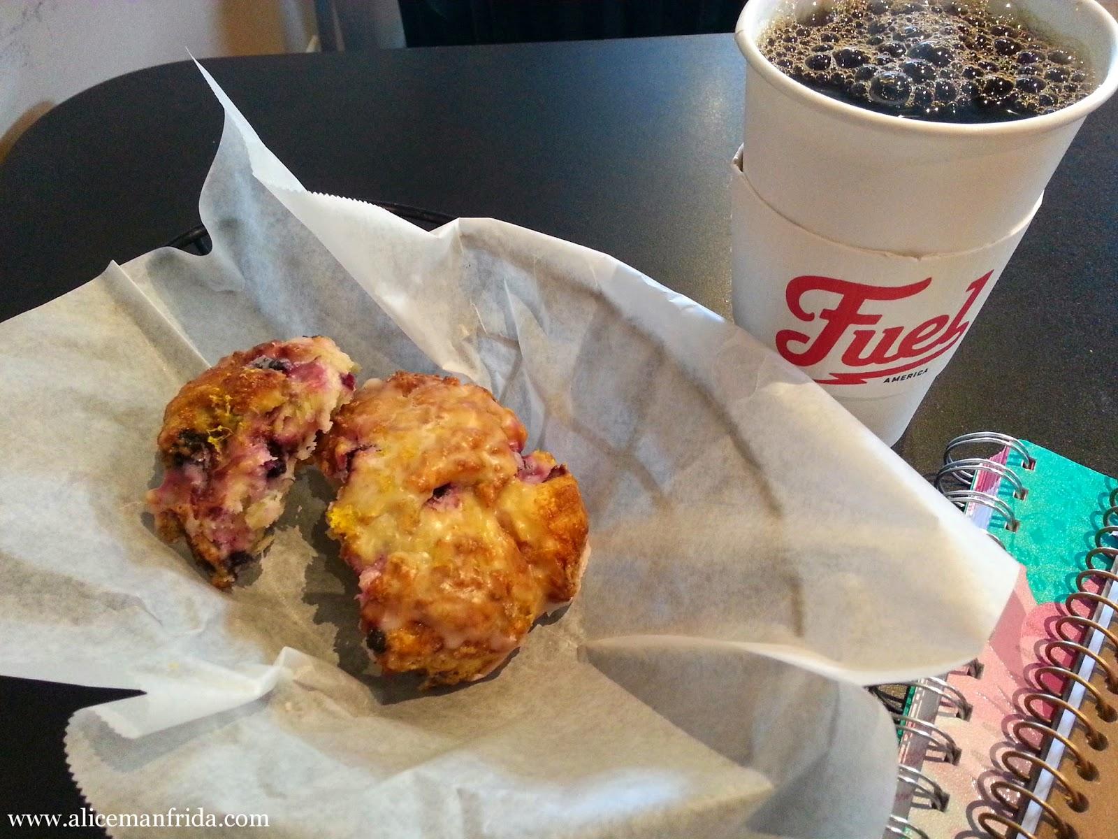 scone, fuel, coffee shop, blueberry scone, breakfast
