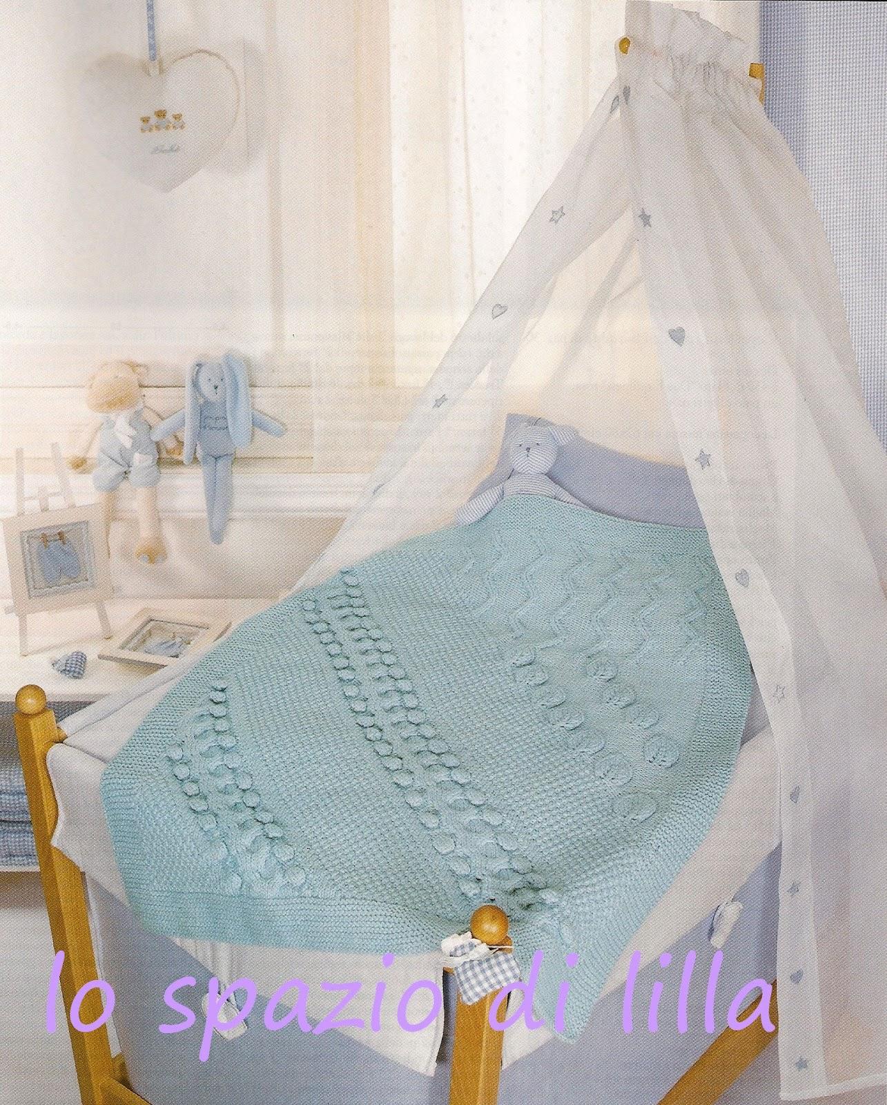 Copertine per neonato: una lilla all'uncinetto ed una celeste ai ferri ...
