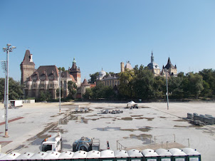 """Vajdahunyad  castle  complex as seen from """"Heros' Square"""" in Budapest."""