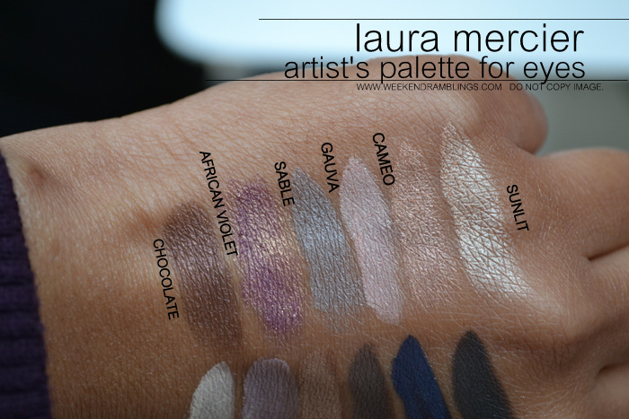 laura mercier artist palette for eyes eyeshadows Chocolate African Violet Sable Guava Cameo Sunlit Vanilla Nuts Plum Smoke Caf au Lait Rich Coffee Ground Deep Night indian makeup beauty blog darker skin swatches