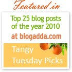 Blogadda&#39;s Tangy Top 25 - 2010