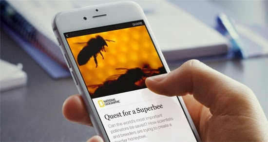 Instant Articles, Facebook, smart devices, The New York Times, National Geographic, BuzzFeed, play of the video clips, interactive maps, zoom in images, new service,