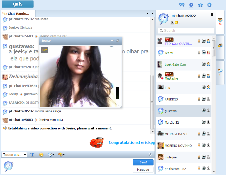 Chatters with webcam