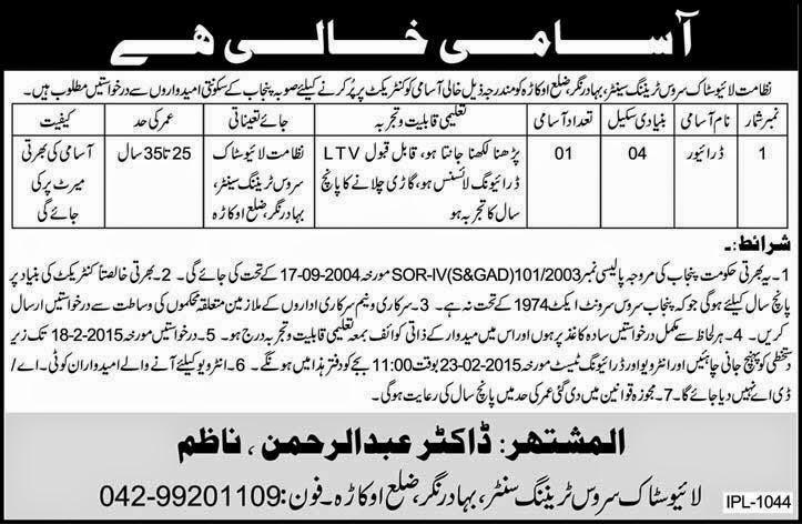 Govt Jobs in Live Stock Department Punjab Pakistan