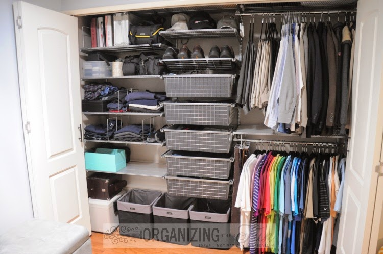 Organized Closet for Husband :: OrganizingMadeFun.com