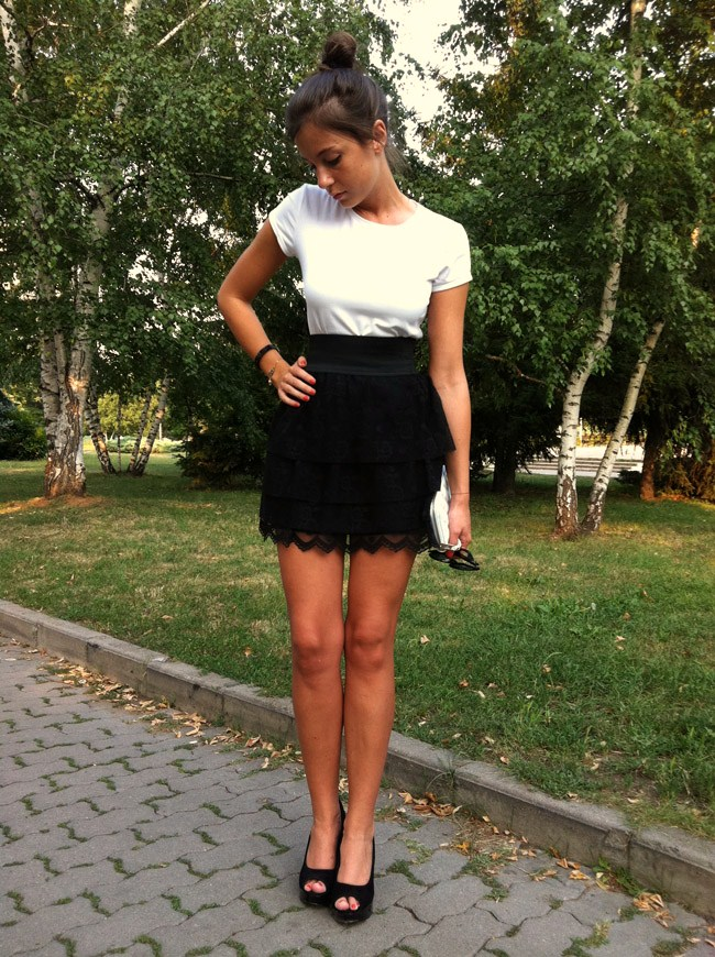 zara black high waisted lace skirt, mango white basic top, asos black suede wedges, i heart maya, swarovski black crystals bracelet