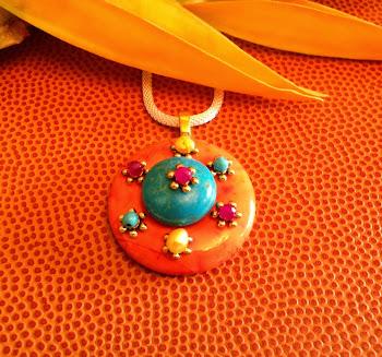 Tangerine Fuchsia Blue Large Pendant Turquoise Howlite Fashion Jewelry