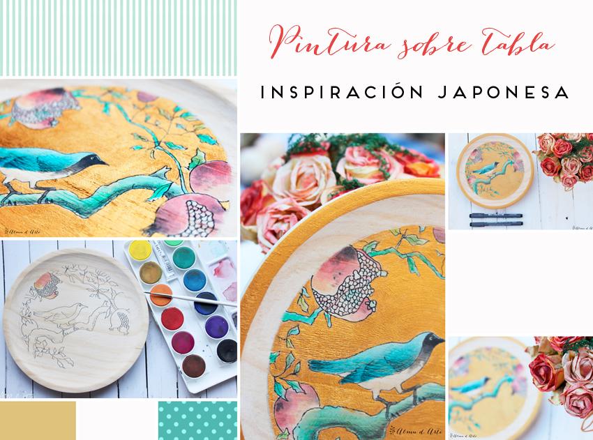 Moodboard pintura sobre tabla. Inspiración japonesa
