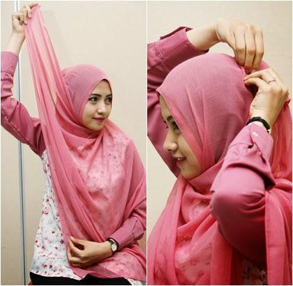 Cara memakai jilbab formal menggunakan jilbab segiempat 3