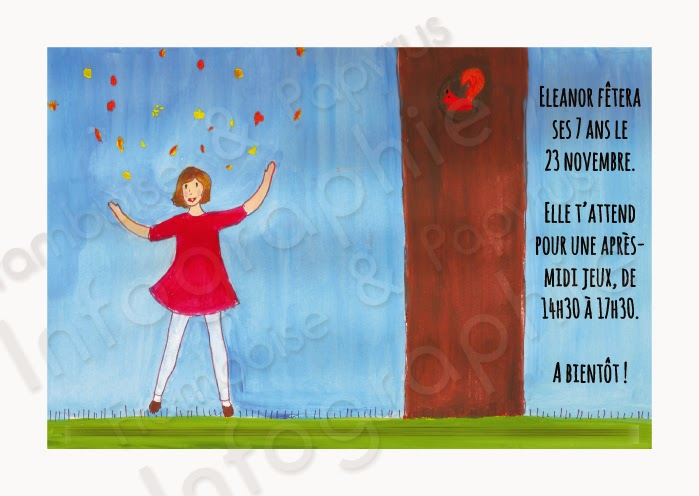Invitation goûter d'anniversaire - thème de l'automne