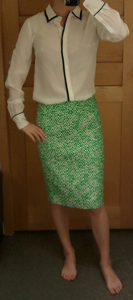 J.Crew Tipped Boy Shirt in Alabaster Black and No. 2 Pencil Skirt in Clover Tweed