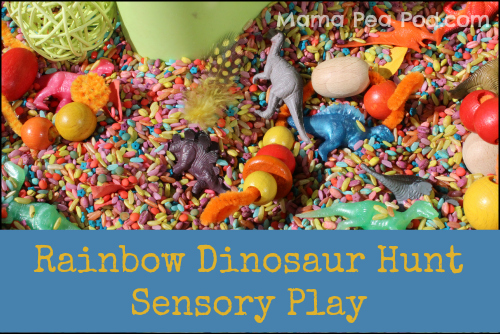 sensory play with rainbow coloured rice and dinosaurs - dig and hunt