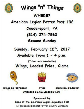 2-12 Wings & Things Coudersport American Legion