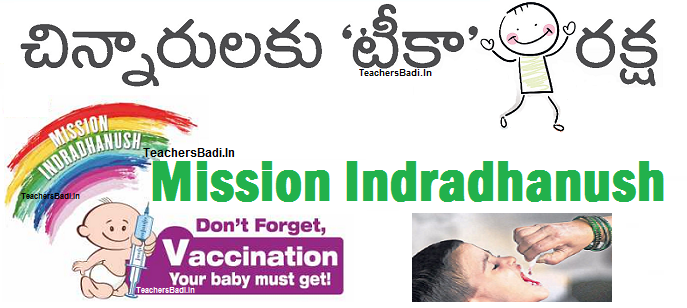 Mission Indradhanush Universal Immunization Programme AP Telangana, lifesaving vaccines, Vaccine for Life, Immunize Every Child, Seven Vaccine Preventable diseases,diphtheria, whooping cough, tetanus, polio, tuberculosis, measles and hepatitis B. Chinnarulaku Teeka Raksha, National Health Mission,MHWF