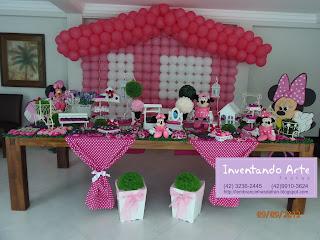 festa decoração minnie rosa